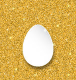 Abstract Happy Easter Paper Egg on Golden Sparkles Background Royalty Free Stock Image