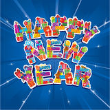Abstract Happy New Year blue background Stock Images