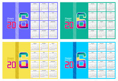 Abstract Happy new year 2016 Calendar Design in four different colors. Abstract Happy new year 2016 Calendar Vector Design in four different colors Stock Image