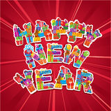 Abstract Happy New Year red background Royalty Free Stock Images