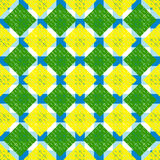 Abstract hard geometric seamless pattern in blue, yellow and green colors.  Royalty Free Stock Photo