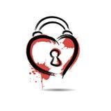Abstract hart in de vorm van een hangslot hand-drawn met vlekkenpa vector illustratie