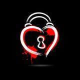 Abstract hart in de vorm van een hangslot hand-drawn met vlekkenpa royalty-vrije illustratie