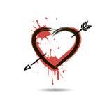Abstract hart met pijl hand-drawn met vlekkenverf vector illustratie