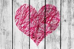 Abstract hart met slordig patroon op oude houten muur stock illustratie