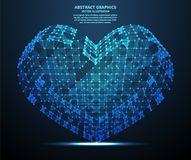 Abstract hart, vectorillustratie Netwerkverbindingen met punten en lijnen De abstracte Achtergrond van de Technologie Royalty-vrije Stock Foto