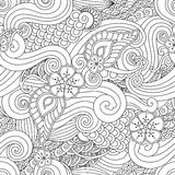 Abstract hasian stylized ornament seamless pattern with flowers and curls isolated on white background. Abstract hand drawn outline asian stylized ornament Stock Photos