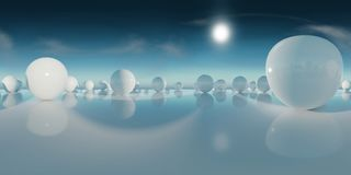 Abstract HDRI environment map, spherical panorama background, light source rendering with blue sky 3d equirectangular rendering. 360 degree lighting backdrop Royalty Free Stock Image