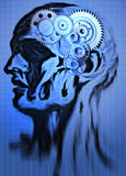 Abstract head. With a gear in brain place royalty free illustration