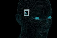 Abstract head with an electronic chip with the inscription AI. 3d rendering Stock Image