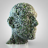 Abstract head made out of cubes. 3D rendering: abstract digital head made out of cubes Royalty Free Stock Photos