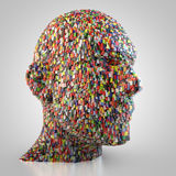 Abstract head made out of cubes. 3D rendering: abstract digital head made out of cubes Royalty Free Stock Image