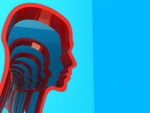 Abstract head silhouette. Abstract 3d illustration of blue background with head silhouettes Stock Photo