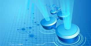 Abstract header. With the blue light beams Stock Image