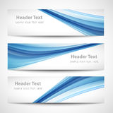 Abstract header blue wave white vector design.  stock illustration