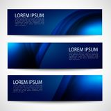 Abstract header dark blue wave black background vector design Stock Photos