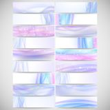 Abstract headers set, wave vector design. Abstract headers set, blue wave vector design Stock Illustration