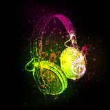 Abstract Headphones with note Stock Photography