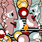 Abstract heads and candle. Abstract heads blows out the candle. Surreal illustration Stock Photos