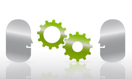 Abstract heads gears. Profile of abstract heads and green, meshing gears Stock Illustration
