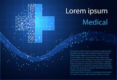 Abstract health science consist health plus digital technology c. Oncept modern medical technology,Treatment,medicine on hi tech future blue background. for vector illustration