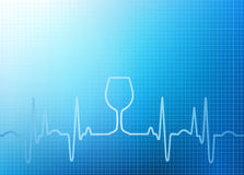 Abstract Healthcare Background Graphic. Abstract blue healthcare illustration of heartbeat /ekg background with wine glass icon Royalty Free Stock Photo