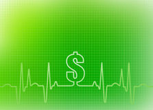 Abstract Healthcare Background Graphic. Abstract green graphic of ekg/cardiogram with dollar sign indicating financial cost of healthcare, insurance, surgery and Royalty Free Stock Images