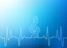 Abstract Healthcare Background Graphic. Abstract Healthcare, Medical or the Arts - sound of music from a heart beat with clef -soft focus blue graph background Royalty Free Stock Photo