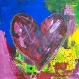Abstract heart acrylic painting. Abstract red heart on colorful grunge background acrylic painting. love symbol Stock Image