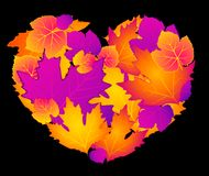 Abstract heart with autumnal leaves Royalty Free Stock Photos