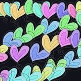 Abstract Heart Background. A digitally created abstract pattern made up of hand drawn whimsical love heart shapes royalty free stock photo
