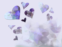 Abstract heart background. Abstract geometric background with magenta hearts made from triangle gradients royalty free illustration