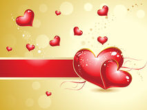 Abstract heart background  with golden Stock Photo