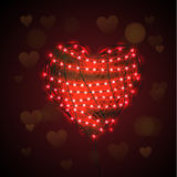 Abstract heart background with luminous garland Royalty Free Stock Photography