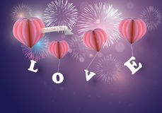 Abstract heart balloons caries love latter with colorful fireworks on twilight background. For festival celebration stock illustration