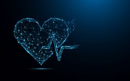 Abstract heart beat form lines and triangles, point connecting network on blue background. Illustration vector Stock Photo