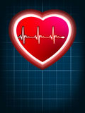 Abstract heart beats cardiogram on blue. EPS 8 Stock Photography