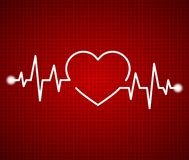 Abstract heart beats, cardiogram. Cardiology dark red background. Pulse of life line forming heart shape. Medical design over red stock illustration