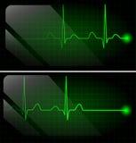 Abstract heart beats cardiogram on green monitor Stock Image