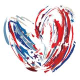 Abstract heart brush strokes in United States patriotic flag colors. On an isolated white background Stock Illustration