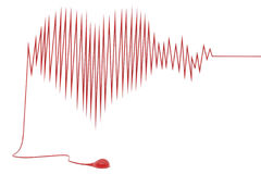 Abstract heart cardiogram with blood drop Stock Photo