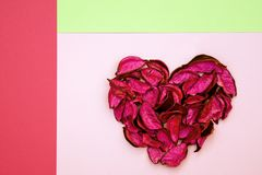 Abstract heart made of dried petals on colorful geometric background royalty free stock image