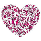 Abstract heart consisting of all sorts of floral patterns.Vector. Art Stock Photo