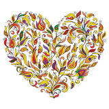 Abstract heart consisting of all sorts of floral patterns.Vector. Art Royalty Free Stock Photography