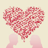 Abstract heart and couple silhouette Stock Photo