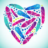 Abstract heart from feathers with ethnic pattern. Abstract heart from feathers with ethnic pattern, vector EPS10 Stock Photography