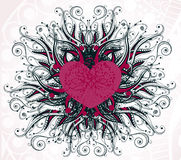 Abstract heart with floral elements Stock Images