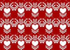 Abstract heart flower pattern on red color background Royalty Free Stock Images