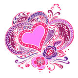 Abstract heart flowers and butterflies.Vector Royalty Free Stock Photo