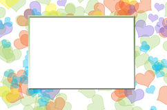Abstract heart frame. Abstract colorful heart bokeh background frame vector illustration